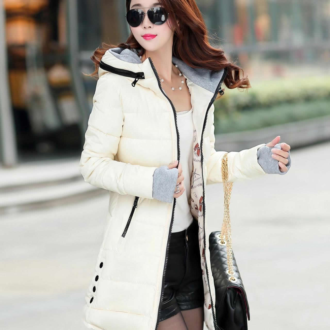 2018 Women Winter Hooded Warm Coat Slim Plus Size XXXL   Basic     Jacket   Female Medium-Long Coats   Jackets   Jaqueta Feminina