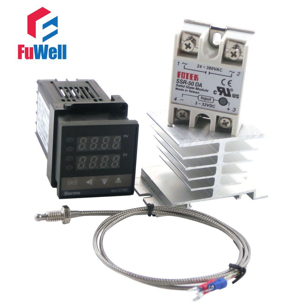 Short Version 86x48x48mm Rex C100fk02 Van Pid Temperature Solid State Relay German Controller And Type K Thermocouple Heat Sink In Relays From Home