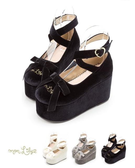 O Sonho Japonês Procurando Sapatos Boca Rasa Tiras Cruzadas Rodada Muffin Fundo Arco Irmã Macio Boneca Sapatos Sapatos Pretos
