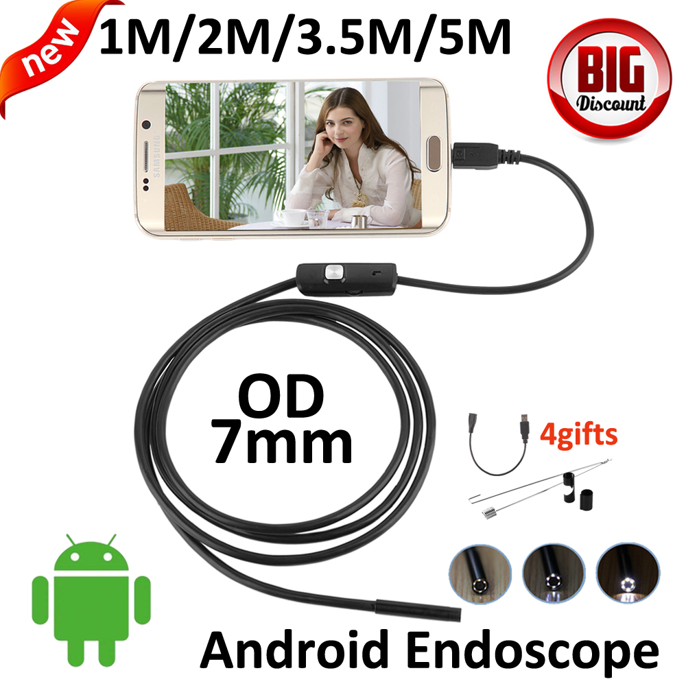 3.5m 2m 1m Android USB Endoscope Camera 7mm Lens 5M Snake USB Camera Tube Pipe IP67 Waterproof Android OTG USB Borescope Camera wifi 4 9mm lens ear nose medical usb endoscope borescope inspection otoscope camera for ios android pc