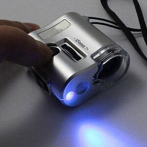 Image 3 - Microscope de poche à lumière UV, nouveau Mini 60 x dispositif de poche bijoux Loupe en verre LED 1 pièce