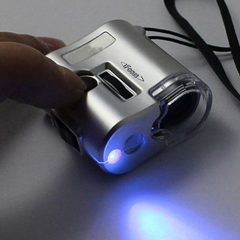 Spectacle Magnifier 1PCS New Brand Mini 60X Pocket Microscope Jewelry Magnifier Loupe Glass LED UV Light