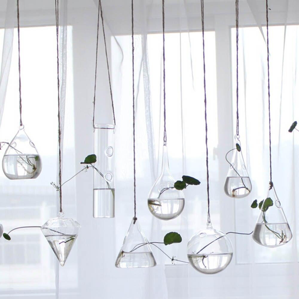 Creative Hanging Hydroponic Glass Vase Flower Planter Transparent Terrarium Container living room Wedding Decoration