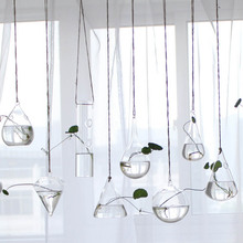 Creative Hanging Hydroponic Glass Vase Flower Planter Transparent Terrarium Container living room Wedding Decoration