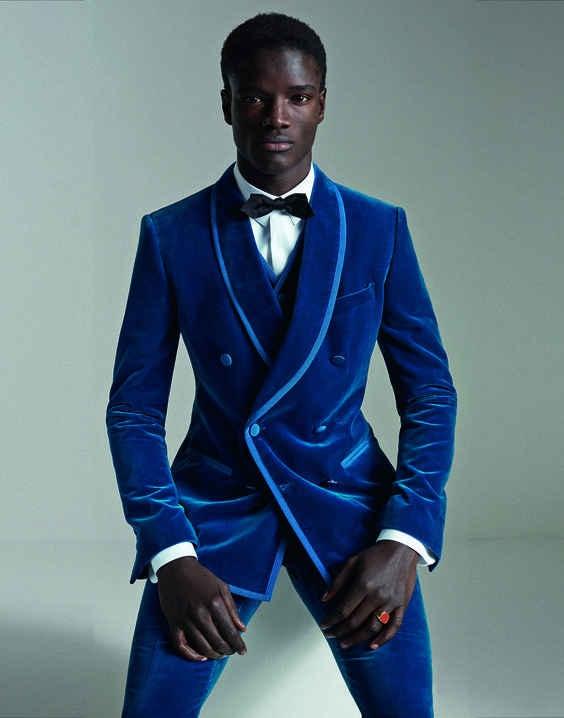 62cff5808 Latest Coat Pant Designs Royal Blue Velvet Men Suit Double Breasted Slim  Fit 3 Piece Tuxedo