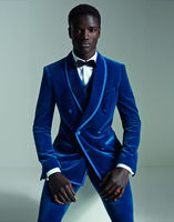 Latest Coat Pant Designs Royal Blue Velvet Men Suit Double Breasted Slim Fit 3 Piece Tuxedo Custom Prom Groom Blazer Masculino