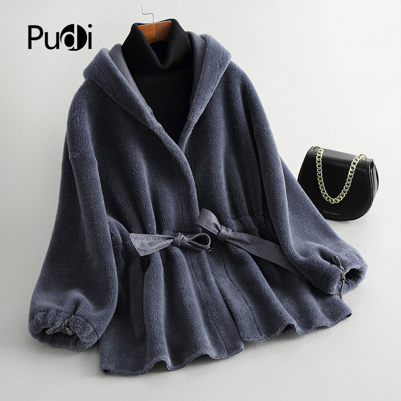 PUDI B181169 women s winter warm real wool jacket vest genuine leisure girl coat lady jacket