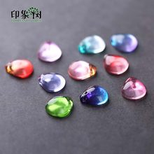 10pcs 10x12mm Cabochon TearDrop Gradient Color Lampwork Glass Blossom Flower Petal Mermaid Bead Handmade DIY Jewelry Making16015(China)