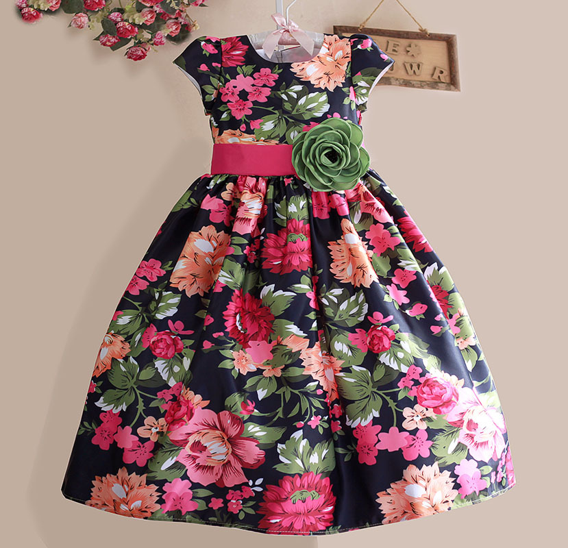 New Girls Dress Black Flower Party Casual Kids Clothes Short Sleeve Green Belt Fashion Dresses Size 3-8
