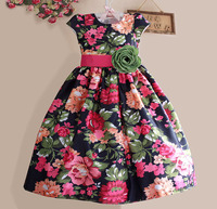 New Girls Dress Black Flower Party Casual Kids Clothes Short Sleeve Green Belt Fashion Dresses Size