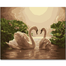 WONZOM Two white swans-DIY Painting by Numbers for Adults, Modern Wall Art Picture, Paint Number Kits on Canvas 16x20inch