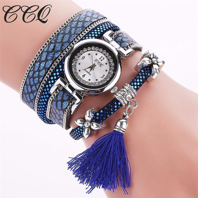 CCQ Brand Fashion Women Bracelet Watch Silver Original Design Tassel Pendant Wristwatches Leather Vintage Quartz Watches C75