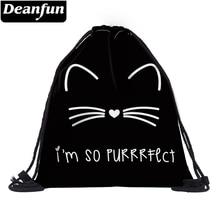 Deanfun 3D мешок с кулиской с принтом кота шаблон милый для женщин Путешествия 60134