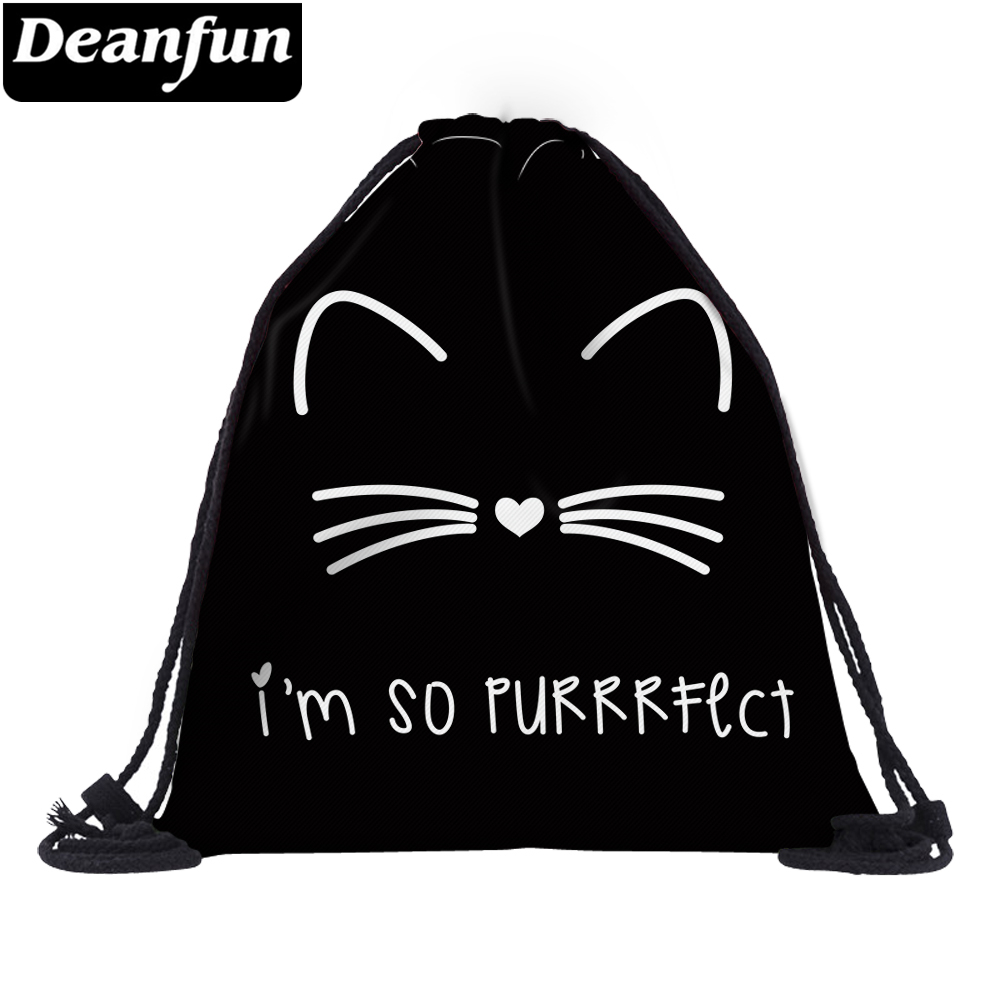 Deanfun 3D Printed Drawstring Bag Cat Pattern Cute For Women Travelling  60134