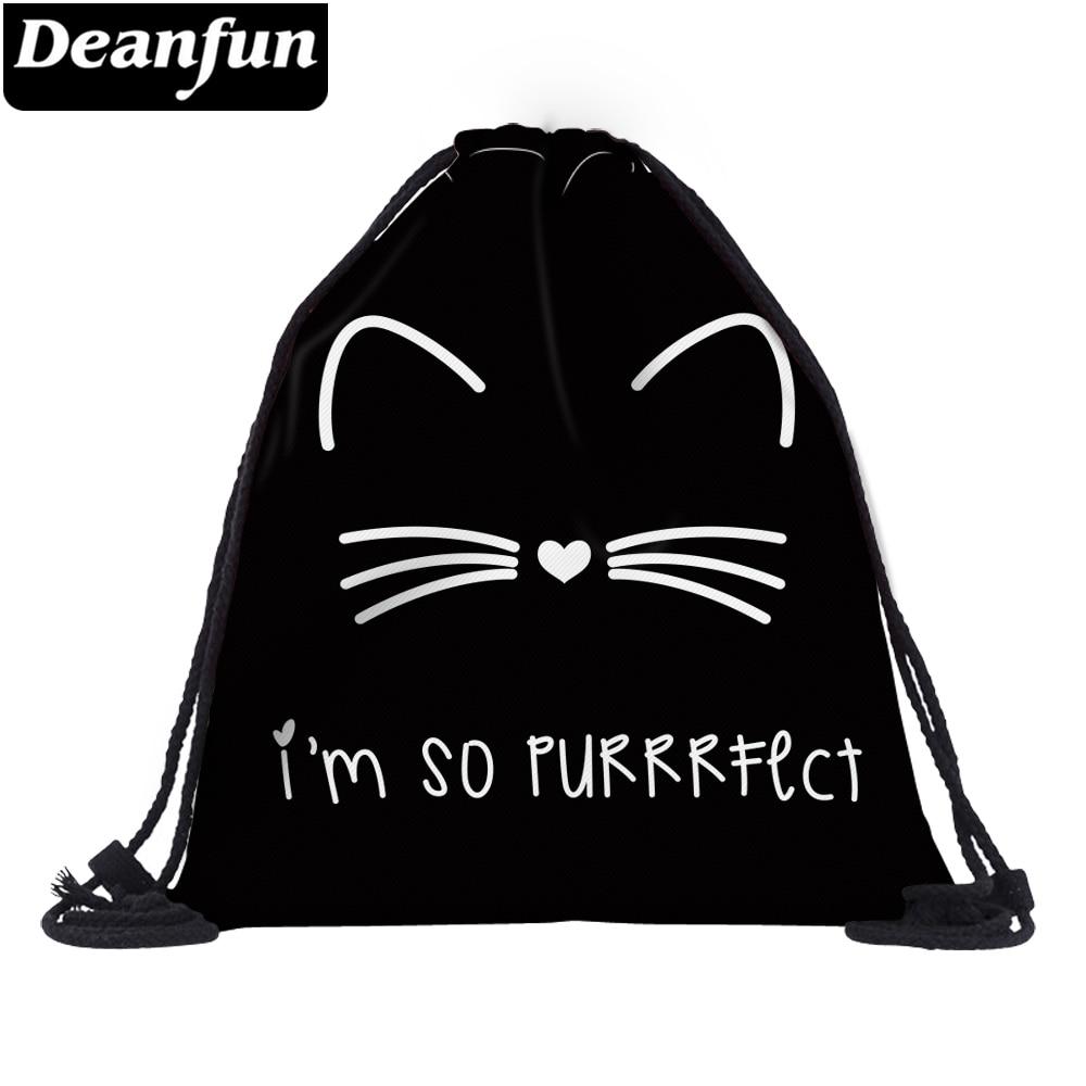 Deanfun 3D Printed Drawstring Bag Cat Pattern Cute For Women Travelling  60134
