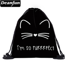 Deanfun 3D Printed Drawstring Bag Cat Pattern Cute for Women Travelling 60134(China)