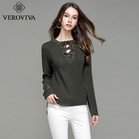 VEROVIVA Autumn Lace Up Sweater Women Solid 5 Colors Belt Sleeve Bow Tie V-neck Pullovers Casual Brief Basic Side Split Sweater