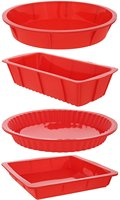 4 Piece Bakeware Set Baking Molds Nonstick Silicone Bakeware Set With Round Square And Rectangular Pans