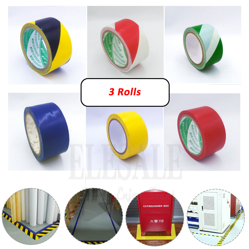 3 Rolls 48mm*18m Waterproof PVC Warning Tape Caution Barrier Safety Tapes For Warehouse Factory School Office Traffic Guide