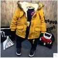 Marca invierno de los niños de piel falsa de chaqueta muchachos capa gruesa bebé muchachos trajes amarillo azul año nuevo traje infantil menino para 2-7Y
