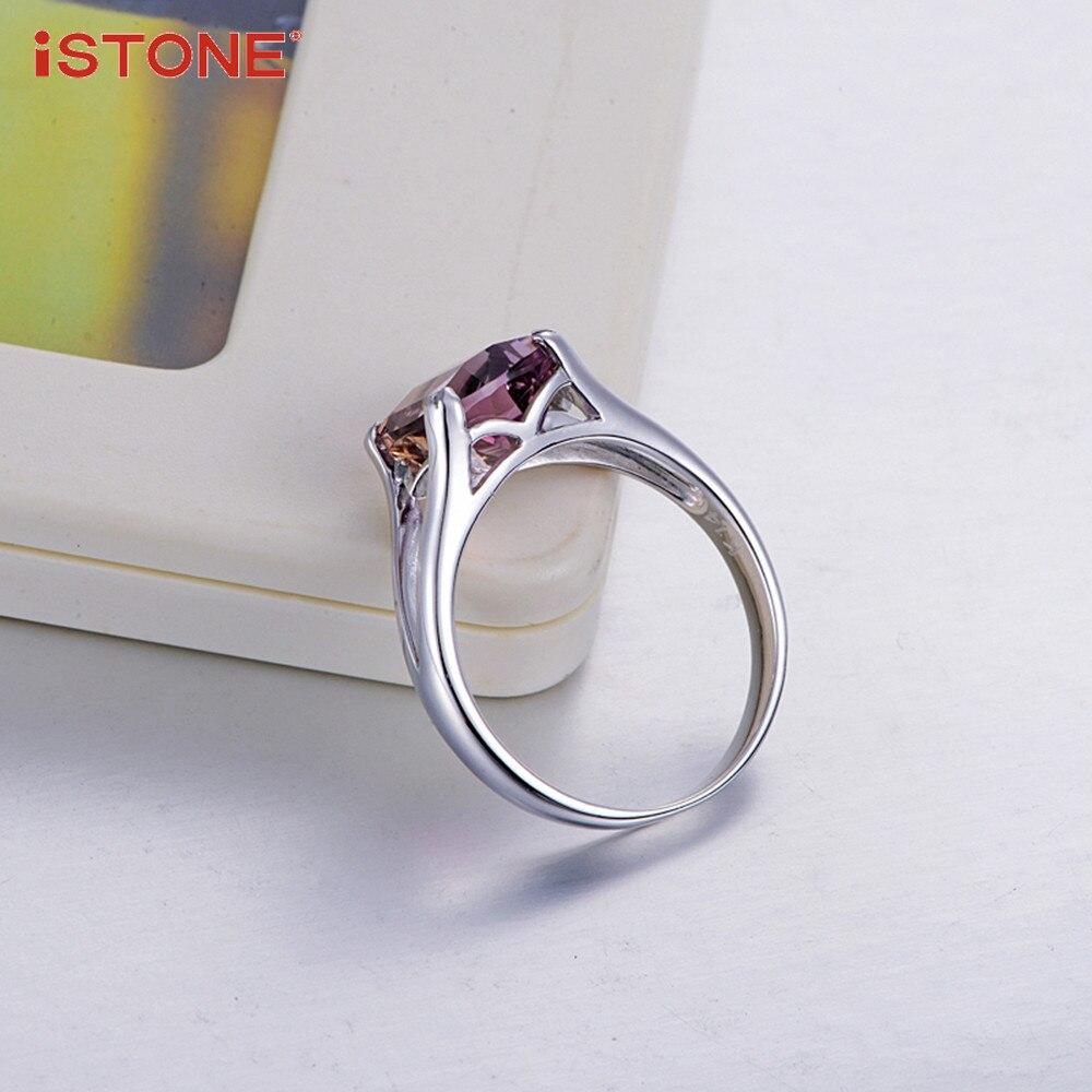 iSTONE Ametrine Square Shape 925 ստերլինգ արծաթե - Նուրբ զարդեր - Լուսանկար 4