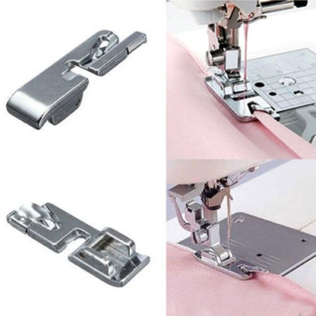 40PCS New Rolled Hem Foot For Brother Janome Singer Toyota Silver Amazing Rolled Hem Foot For Brother Sewing Machine