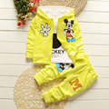 6m-4years New Chidren Kids Boys Clothing Set  spring Autumn 3 Piece Sets Hooded Coat Suits Fall Cotton Baby Boys Clothes Mickey