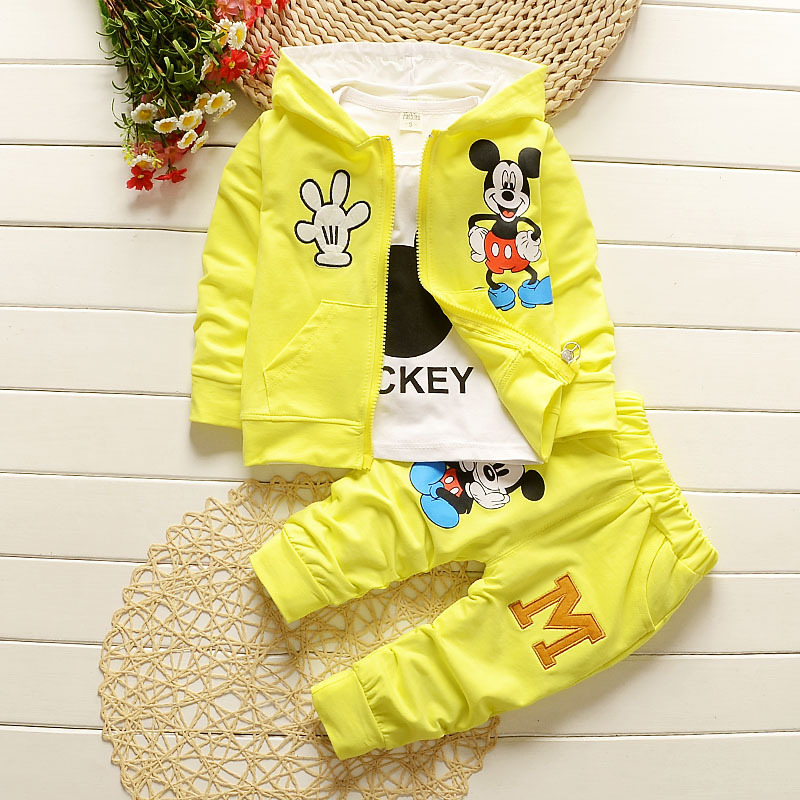 6m-5years New Chidren Kids Boys Clothing Set spring Autumn 3 Piece Sets Hooded Coat Suits Fall Cotton Baby Boys Clothes Mickey