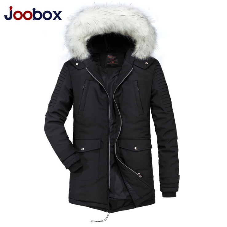 JOOBOX Medium Long Fur Collar Men's Parkas New Winter Hooded Thicken Windproof Jacket Men Snow Warm Outerwear Male US Size XXL