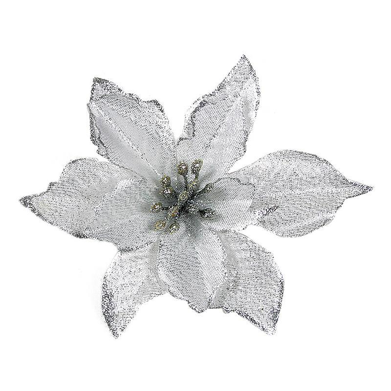 1 шт. 15 см Золотой Край имитация на Рождество цветок для свадебной вечеринки гирлянды украшения многоцветный пластик липкий порошок цветок - Цвет: Серебристый