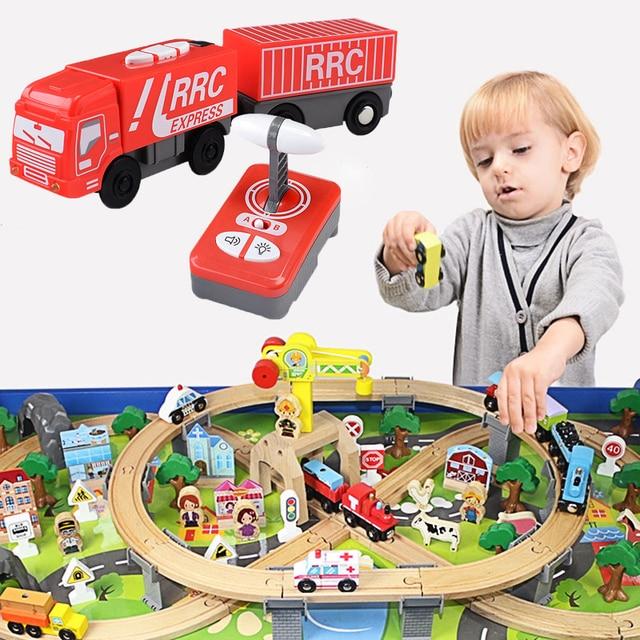 Para a Faixa De Madeira Brio Pista RC Controle Remoto Combinação Locomotiva Elétrica AJUSTE Pista De Madeira Crianças Brinquedo Elétrico Crianças Brinquedos