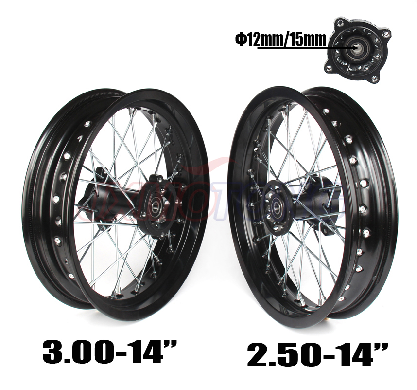 14 Inch Dirt Pit bike Off Road Front Rear Wheels Set 2.50-143.00-14 Alloy Rim For KAYO BSE Apollo Xmotos Racing Supermoto 110 125cc dirt pit bike seat saddles bse 140 kayo off road motorcycle motocross for kawasaki klx bbr