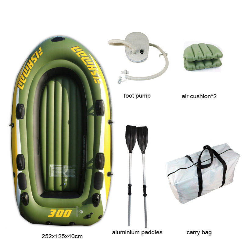 FISHMAN 3 Person Fish Boat 252*125*40cm PVC Inflatable Boat Fishing Kayak Paddle Pump Carry Bag Backpack Dinghy Raft Oar Paddle