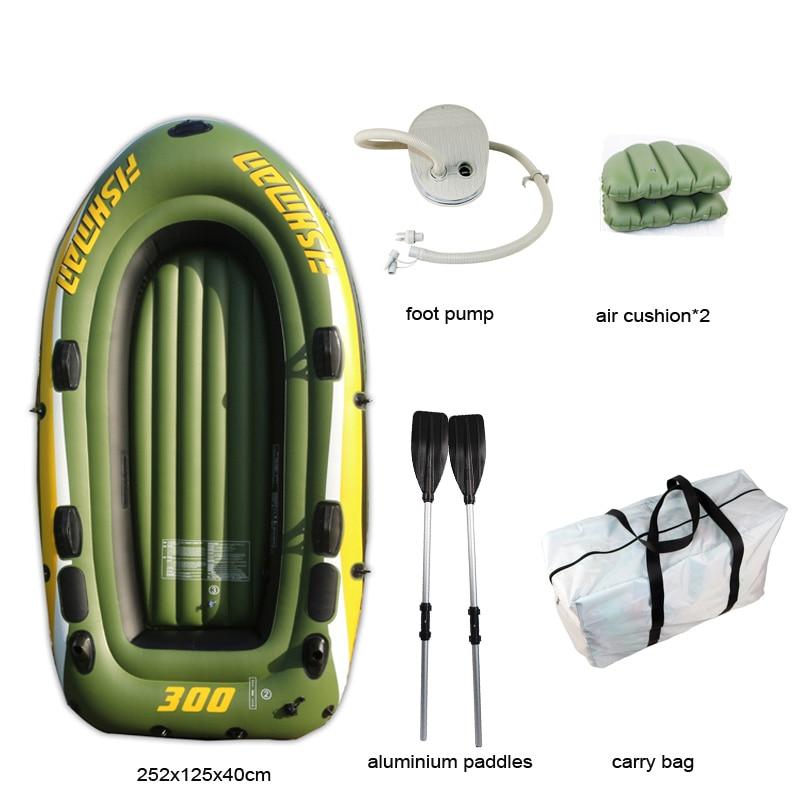 FISHMAN 3 personne bateau à poisson 252*125*40 cm PVC bateau gonflable pêche kayak pompe à aubes sac de transport sac à dos canot radeau rame pagaie