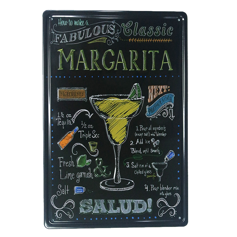 Vintage Home Decor Margarita and Mojito Plaques & Signs Bar Poster Metal Tin Signs 20*30cm