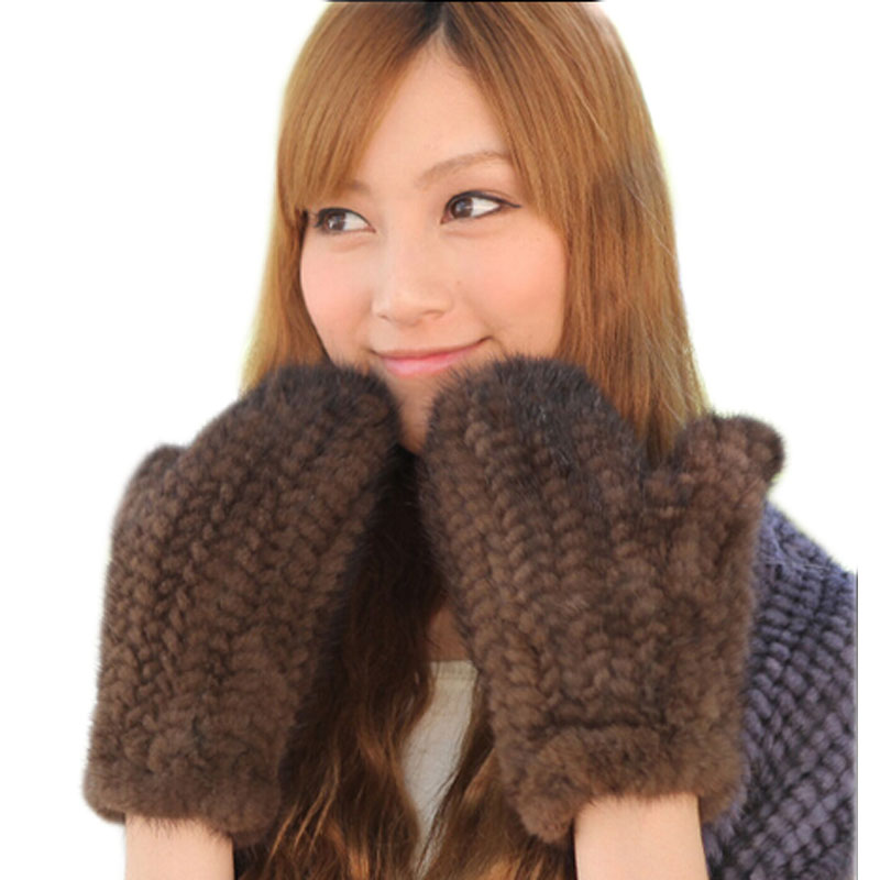 2017 New Arm Warmer Mittens Fashion Black Brown Womens Winter Mink Fur Gloves