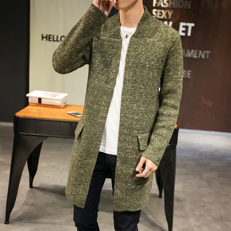 Autumn Winter Long Sweater Warm Jacket Cardigan Men High Quality England Style Knitted Coat With Pocket Knit Windbreaker