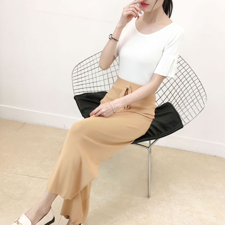 Women   pant   girl silk   wide     leg     pants   female summer 2019 new high waist tie with a sense straight knitted trousers