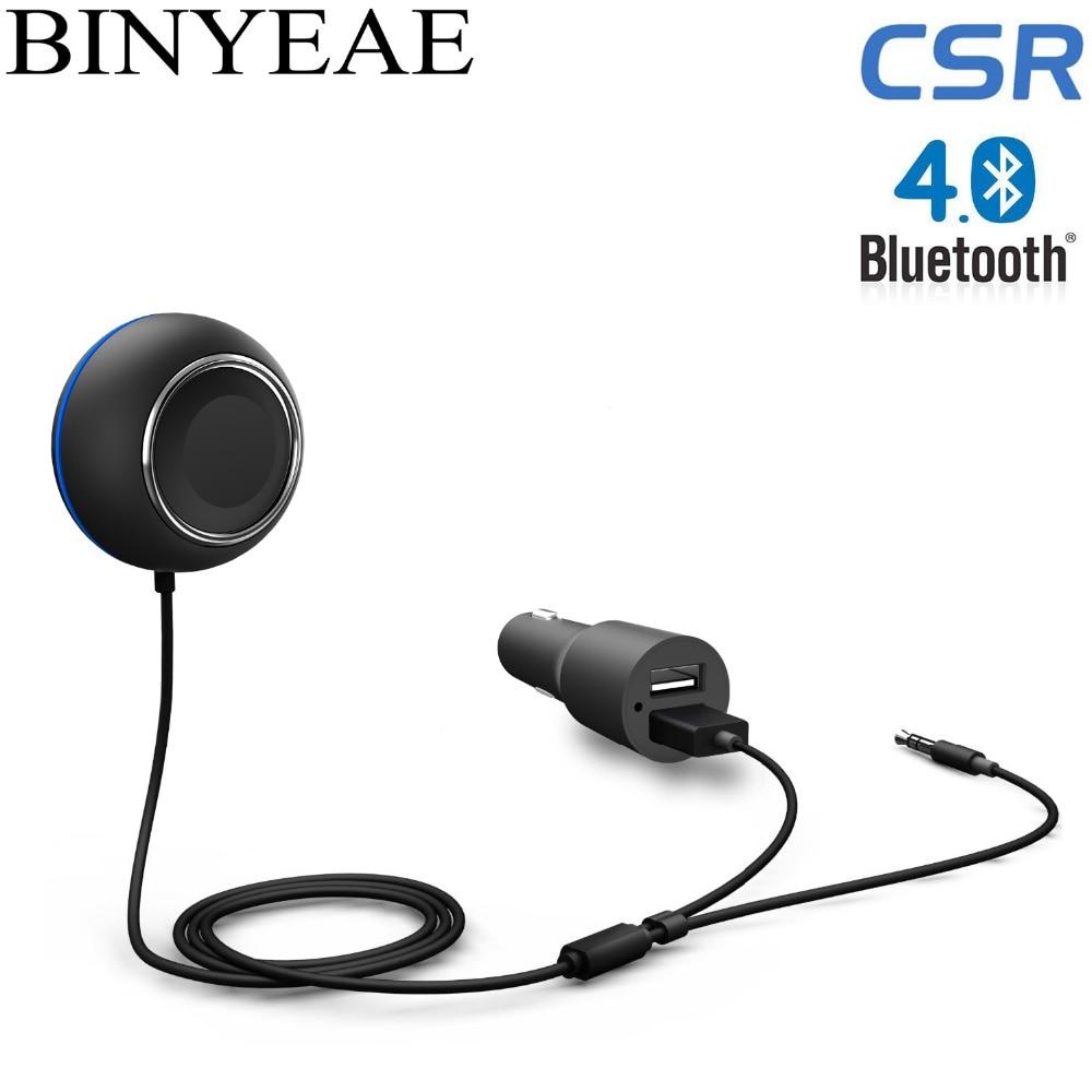 Binyeae Bluetooth V4.1 handsfree Aux USB Car Kit Wireless Stereo Music Receiver Knob Rotatable Adjustment