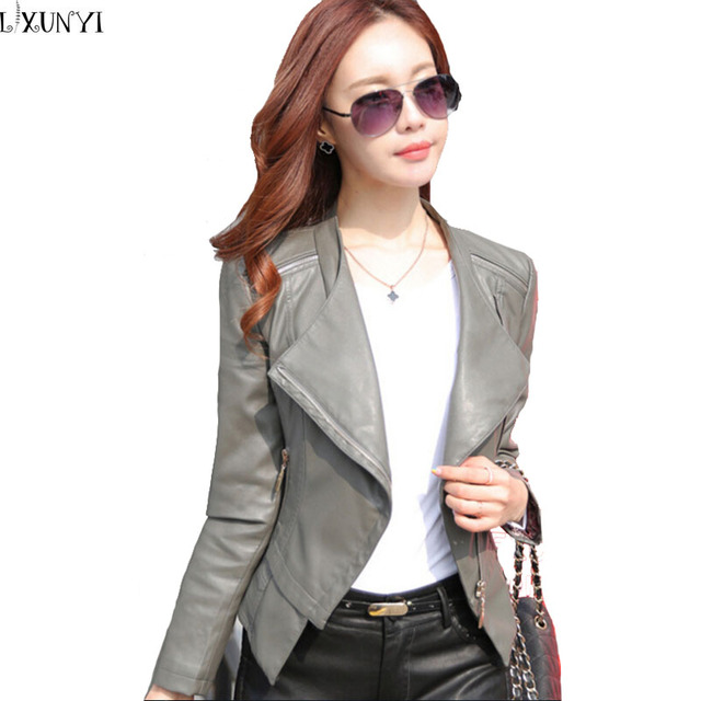 Pu кожаная куртка женщин с длинным рукавом корейской тонкий маленький кожаная одежда большой размер женщин короткие нагрудные байкер джек весна осень M-3XL