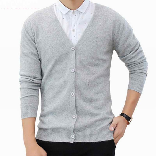 2016 Spring Men's  V-Neck Cashmere Blend Business Cardigan Single Breasted Long Sleeve Sweaters Free Shipping