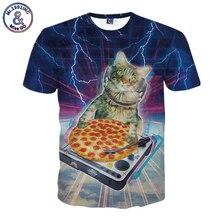2017 New Arrival 3D T Shirt Animal DJ Cat Pizza Lightning Summer Tops Tees Short Sleeve Funny Women Men's Clothing