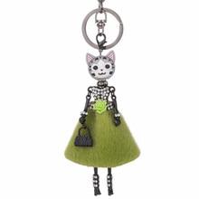 ФОТО 2018 new doll cat head cute rhinestone black keychain for women car pendant hot girl statement jewelry bag key chain ring