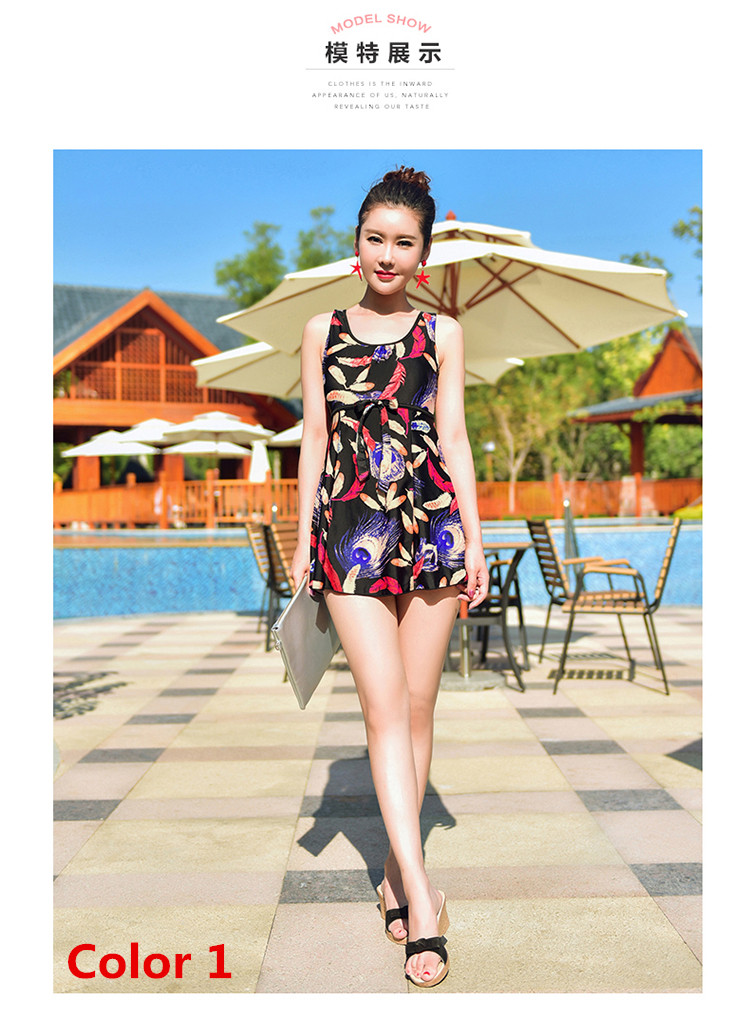 2017 new skirt conjoined show thin conservative swimwear one piece swimsuit woman covered belly big yards bubble hot spring