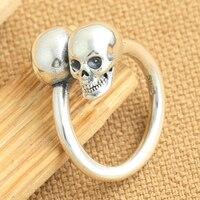 Handgemaakte 925 Zilveren Schedel Ring Vintage sterling zilver Skeleton Cross ring geluk Schedel ring Verstelbare