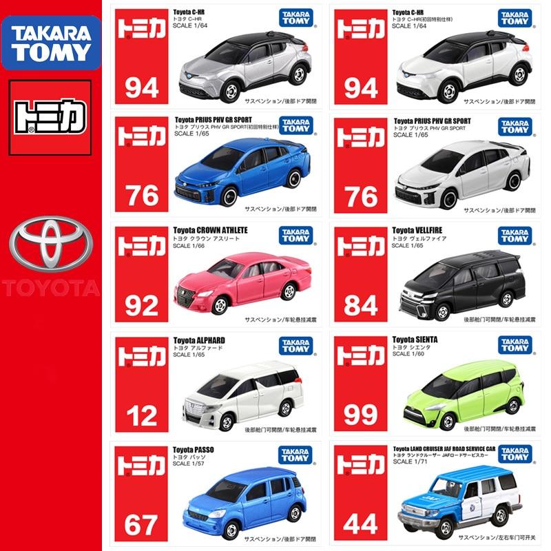Takara tomica tomica toyota série carros 86 C-HR coroa fj land cruiser alphard velfire sienta camry prius voxy modelo de metal brinquedos
