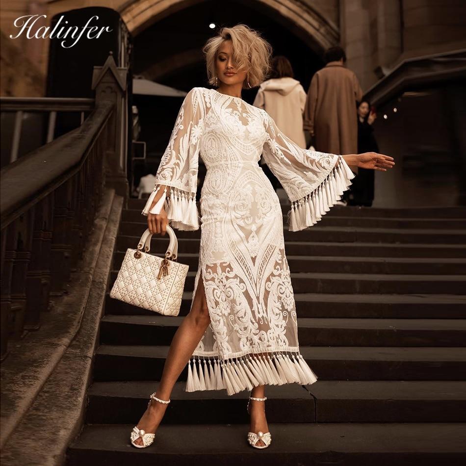 Halinfer 2018 New summer women dress sexy bodycon O-Neck tassel ankle-length dress chic celebrity party white dresses vestidos