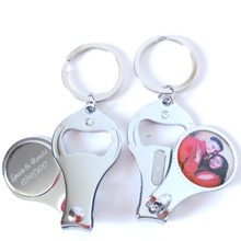 100Pcs Personalized Wedding Gift With Photo Customized Birthday Party Favor Multifunctional Bottle Opener/Keychain/Nail Clippers