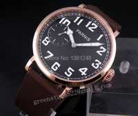 46mm parnis black dial gold plated case 6497 Mechanical manual wind mens watch P127