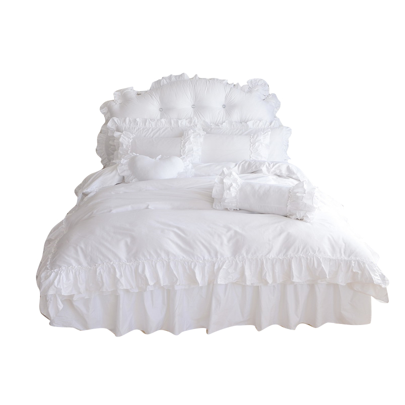 4/6/8-Pieces ruffles Princess style Luxury Bedding Set King Size Queen Bed Set Wedding Bedding Sets Duvet Cover Bed Skirt4/6/8-Pieces ruffles Princess style Luxury Bedding Set King Size Queen Bed Set Wedding Bedding Sets Duvet Cover Bed Skirt